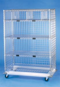 Nexel Exchange & Linen Transport Trucks - Heavy Duty - Five Wire Shelves, Three Sided Enclosure Panels