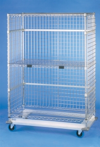 Nexel Exchange & Linen Transport Trucks - Heavy Duty - Three Wire Shelves, Three Sided Enclosure Panels, Two Dunnage Frames