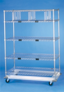 Nexel Exchange & Linen Transport Trucks - Heavy Duty - Five Wire Shelves