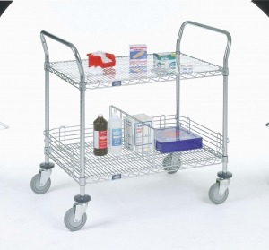 Nexel Utility Cart Wire 2 shelf w/rubber casters